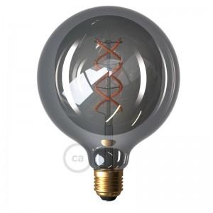LED Smoky Light Bulb - Globe G125 Curved Spiral Filament - 5W E27 Dimmable 2000K