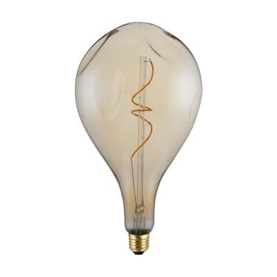 XXL LED Bulb Pear A165 Bumped Golden spiral filament 5W E27 Dimmable 2000K