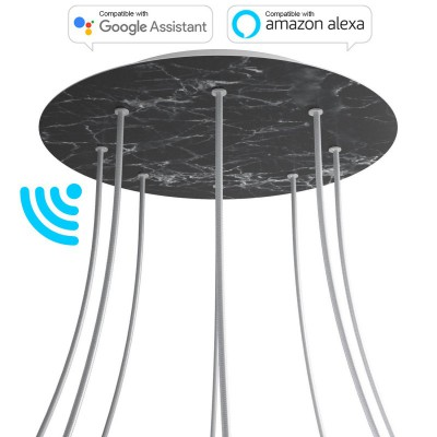 Large Round Smart ceiling rose, 400 mm Panel Rose-One with 8 holes - compatible with voice assistants