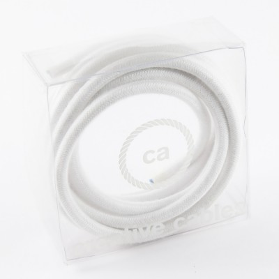 In a box Round Electric Cable covered by Cotton solid color fabric RC01 White