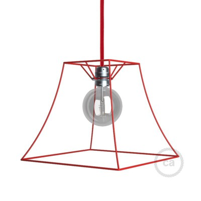 Naked light bulb cage lampshade Pyramid Red colored metal E27 fitting
