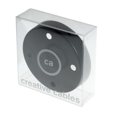 Box with 4 Holes Black Cylinder Rosette Kit, bracket, screws and 4 cable retainers