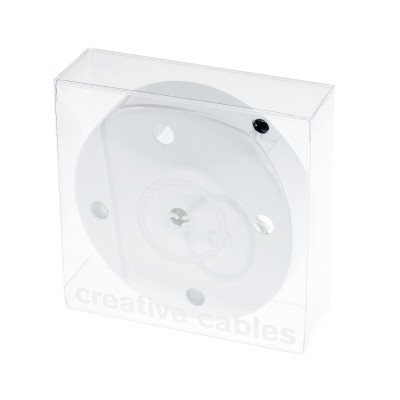Box with 5 Holes White Cylinder Rosette Kit, bracket, screws and 5 cable retainers