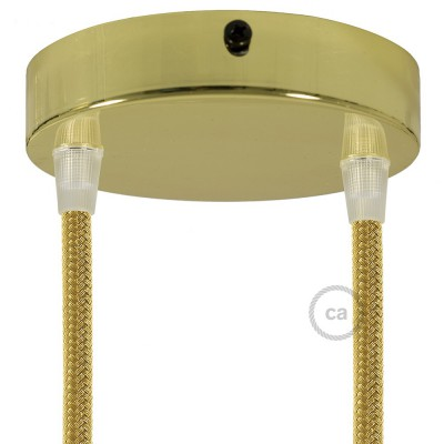 Box with 2 Holes Brass Cylinder Rosette Kit, bracket, screws and 2 cable retainers