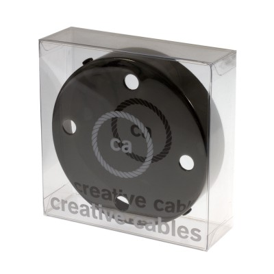 Box with 4 Holes Black pearl Cylinder Rosette Kit, bracket, screws and 4 cable retainers