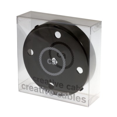 Box with 5 Holes Black pearl Cylinder Rosette Kit, bracket, screws and 5 cable retainers