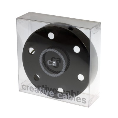 Box with 7 Holes Black pearl Cylinder Rosette Kit, bracket, screws and 7 cable retainers