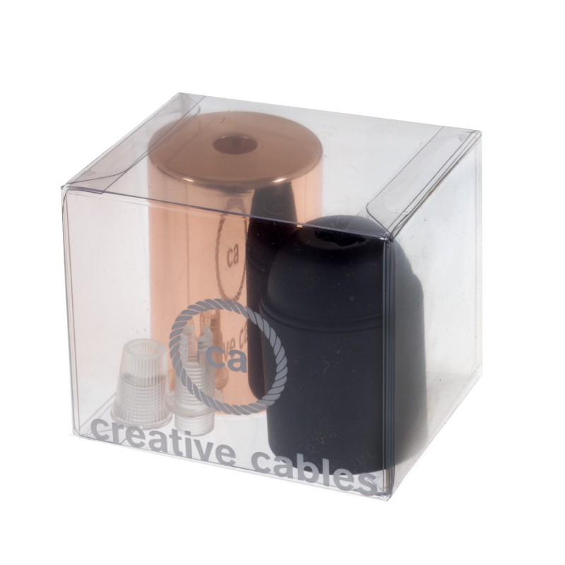 Box with Lamp Holder Cylinder Kit consists of Coppered metal cup + E27 lamp holder + transparent cable clamp