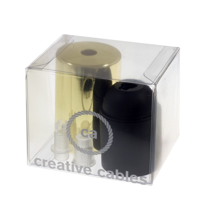 Box with Lamp Holder Cylinder Kit consists of Brass metal cup + E27 lamp holder + transparent cable clamp