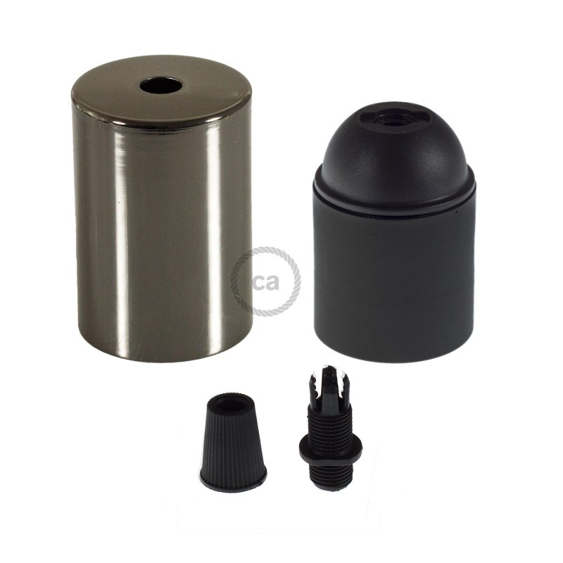 Box with Lamp Holder Cylinder Kit consists of Black Pearl metal cup + E27 lamp holder + black cable clamp