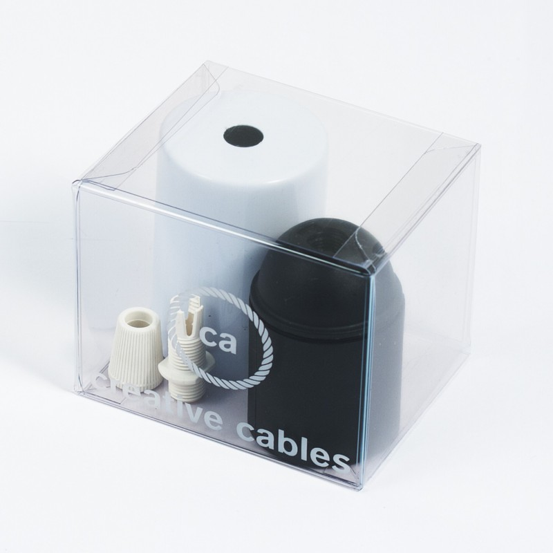 Box with Lamp Holder Cylinder Kit consists of white metal cup + E27 lamp holder + white cable clamp