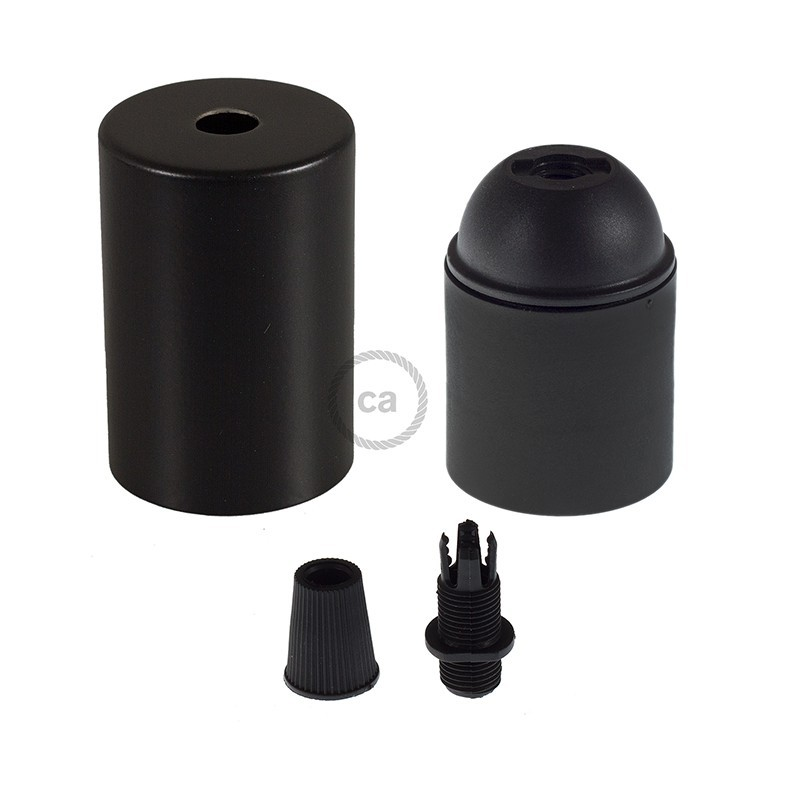 Box with Lamp Holder Cylinder Kit consists of black metal cup + E27 lamp holder + black cable clamp