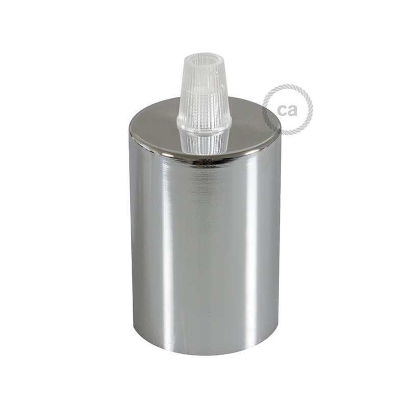 Box with Lamp Holder Cylinder Kit consists of chrome metal cup + E27 lamp holder + transparent cable clamp