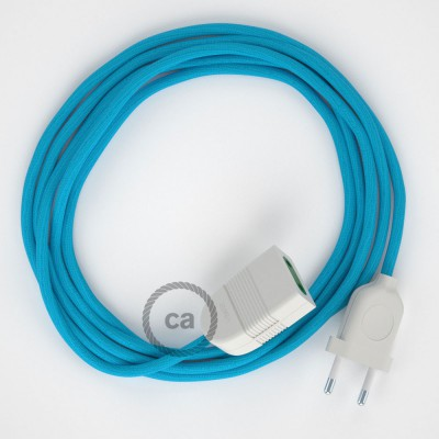 Turquoise Rayon fabric RM11 2P 10A Extension cable Made in Italy