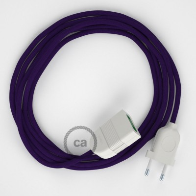 Purple Rayon fabric RM14 2P 10A Extension cable Made in Italy
