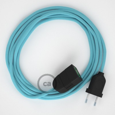 Baby Blue Rayon fabric RM17 2P 10A Extension cable Made in Italy