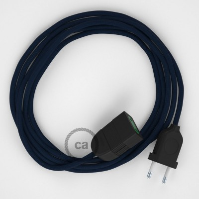 Dark Blue Rayon fabric RM20 2P 10A Extension cable Made in Italy