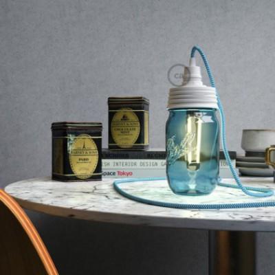 White metal Mason Jar Pendant lighting Kit with conical strain relief and E14 White bakelite lamp holder
