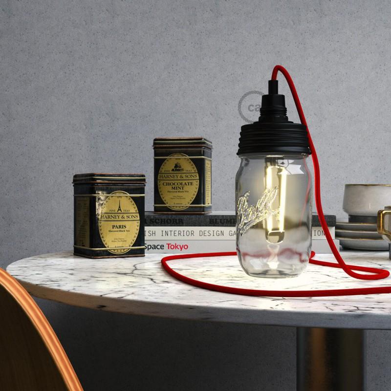 Black metal Mason Jar Pendant lighting Kit with cylindrical strain relief and E14 Black bakelite lamp holder