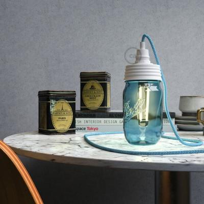 White metal Mason Jar Pendant lighting Kit with cylindrical strain relief and E14 White bakelite lamp holder
