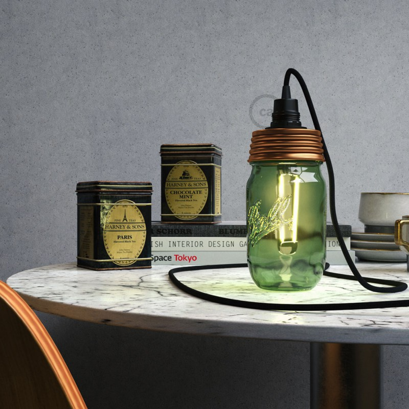 Bronze metal Mason Jar Pendant lighting Kit with conical strain relief and E14 Black bakelite lamp holder