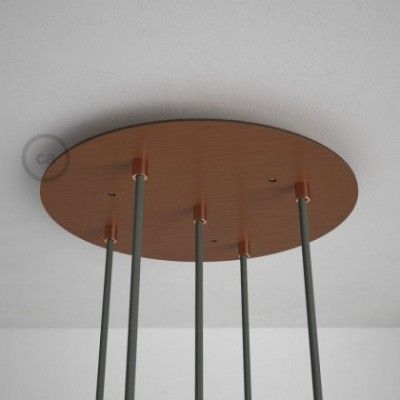 Round 35 cm Satin Copper XXL Ceiling Rose with 5 holes + Accessories