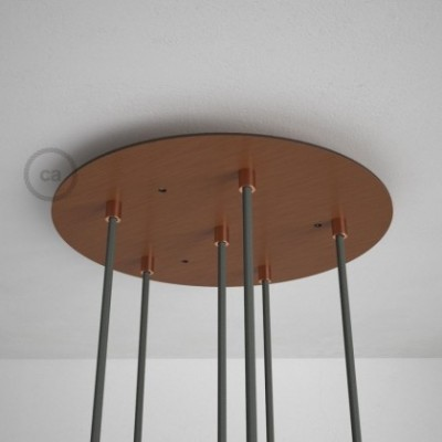 Round 35 cm Satin Copper XXL Ceiling Rose with 6 holes + Accessories