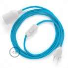 SnakeBis wiring with lamp holder and fabric cable - Turquoise Rayon RM11