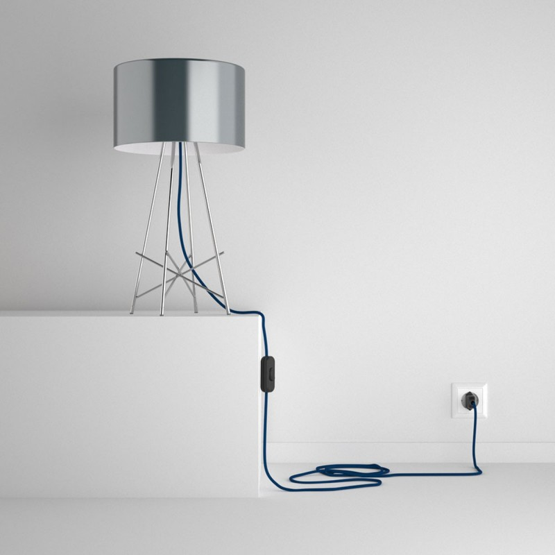 SnakeBis wiring with lamp holder and fabric cable - Blue Rayon RM12