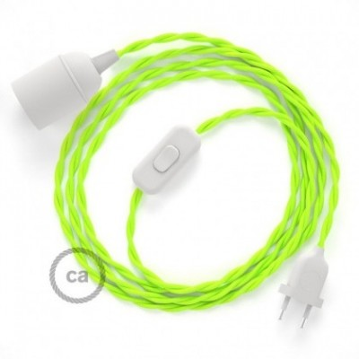 SnakeBis wiring with lamp holder and fabric cable - Yellow Fluo TF10