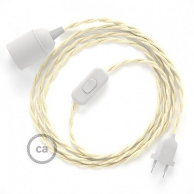 SnakeBis wiring with lamp holder and fabric cable - Ivory Rayon TM00