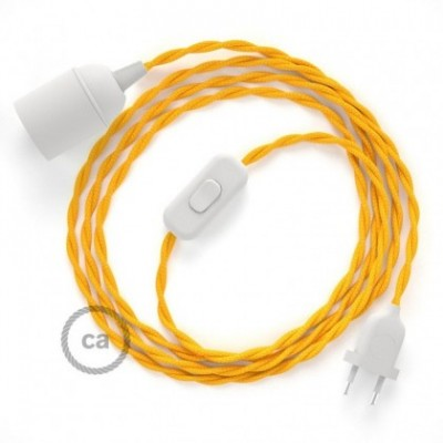 SnakeBis wiring with lamp holder and fabric cable - Yellow Rayon TM10
