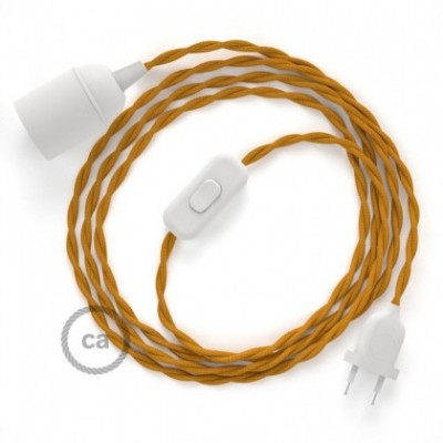 SnakeBis wiring with lamp holder and fabric cable - Mustard Rayon TM25