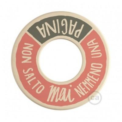 MINI-UFO: reversible wooden disk READING BALLSH*T collection, subject PAGINA + PROFUMO DELLA CARTA