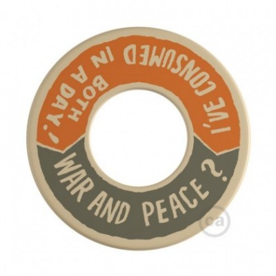 MINI-UFO: reversible wooden disk READING BALLSH*T collection, subject WAR&PEACE + BETTER THAN THE MOVIE