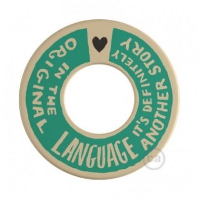 MINI-UFO: reversible wooden disk READING BALLSH*T collection, subject COVER + ORIGINAL LANGUAGE