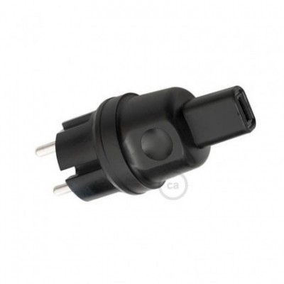 Black French-German Plug for Lumet String Lights