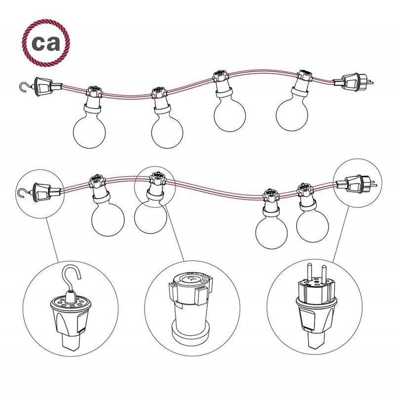 Black French-German Plug for Lumet String Lights