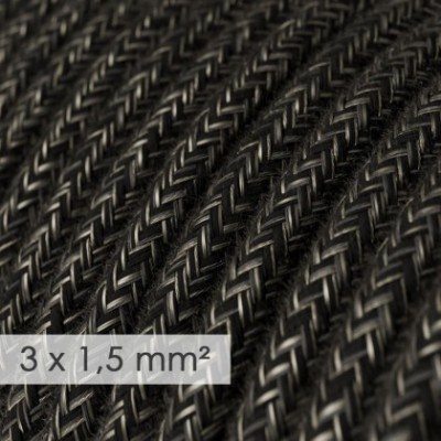 Large section electric cable 3x1,50 round - covered by Natural Anthracite Linen RN03