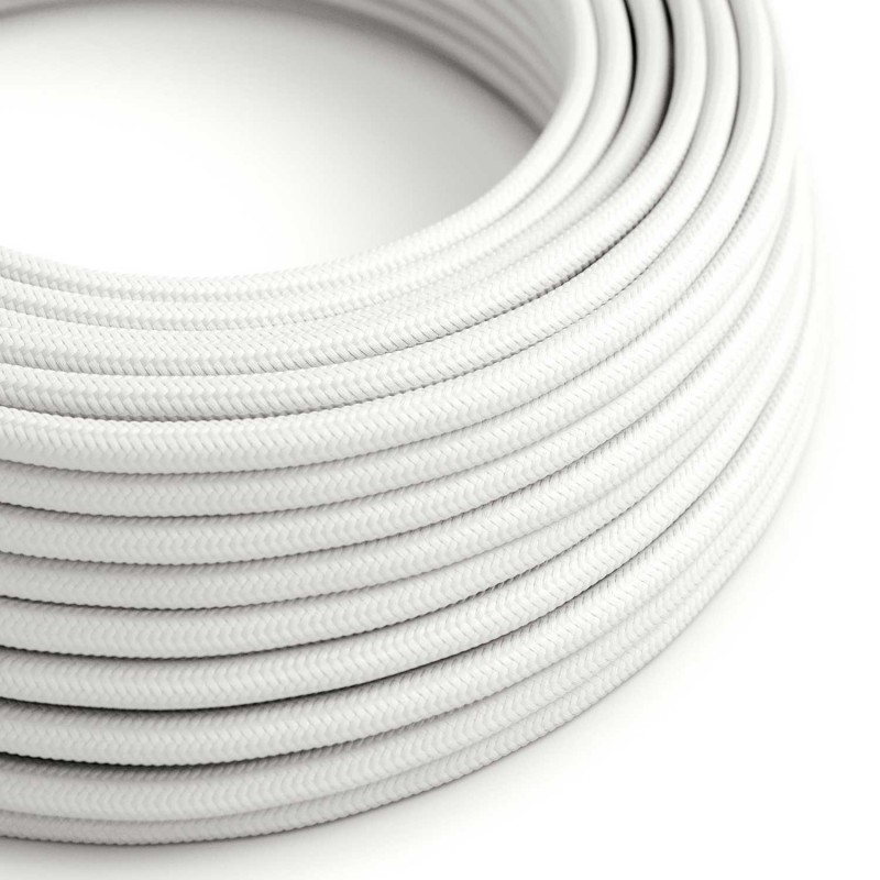 Round Electric Cable covered by Rayon solid color fabric RM01 White