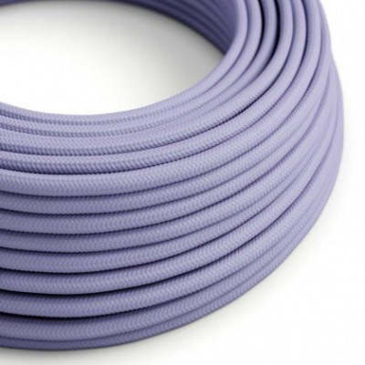 Round Electric Cable covered by Rayon solid color fabric RM07 Lilac