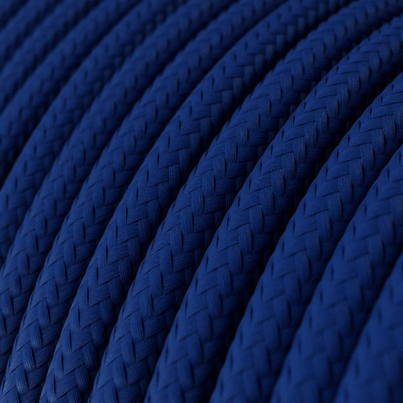 Round Electric Cable covered by Rayon solid color fabric RM12 Blue