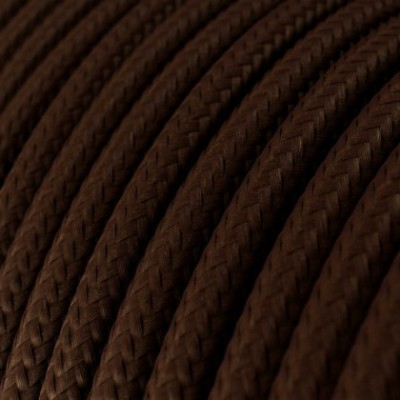 Round Electric Cable covered by Rayon solid color fabric RM13 Brown