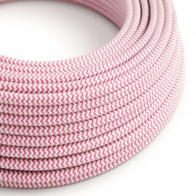 Round Electric Cable covered by Rayon fabric ZigZag RZ08 Fuchsia
