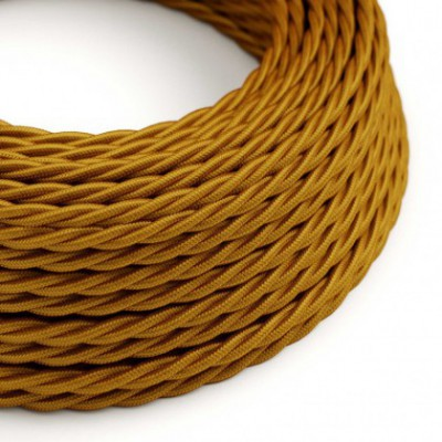 Twisted Electric Cable covered by Rayon solid color fabric TM05 Gold