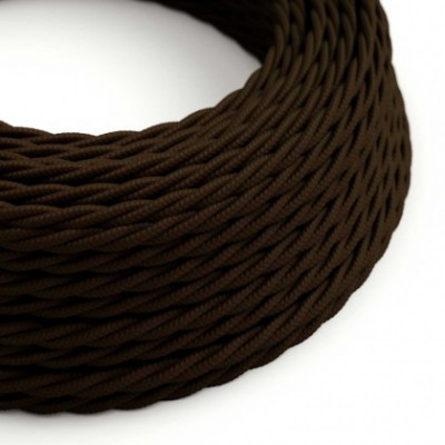 Twisted Electric Cable covered by Rayon solid color fabric TM13 Brown