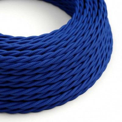 Twisted Electric Cable covered by Rayon solid color fabric TM12 Blue