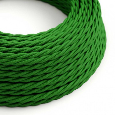 Twisted Electric Cable covered by Rayon solid color fabric TM06 Green