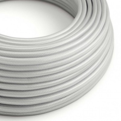 Round Electric Cable covered by Rayon solid color fabric RM02 Silver