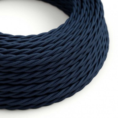 Twisted Fabric Lighting Flex Electric Cable TM20 Dark Blue